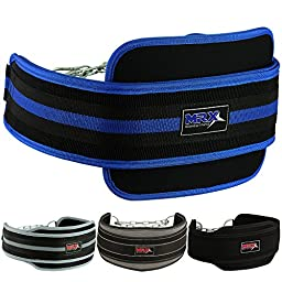 Weight Lifting Dipping Belt with Metal Chain (Blue/Black)