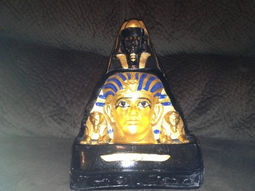 Rare Huge The Egyptian Tomb Of King Tut With Lamp.. Hand Carved Statue Antique