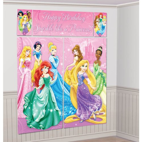 Disney Princess Scene Setter Wall Decorations Kit - Kids Birthday and Party Supplies Decoration - 1