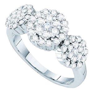 Pricegems 14K White Gold Ladies Round Brilliant Diamond Cluster Set Flower Ring (1 cttw, H-I Color, I1/I2 Clarity, Ring Size: 8.75)