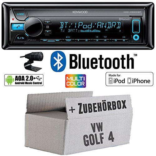 VW Golf 4 IV - Kenwood KDC-X5000BT - Bluetooth CD/MP3/USB VarioColor Autoradio - Einbauset