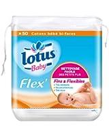 Lotus Baby Flex - Cotons Carrés - 50 Cotons Bébé Bi-Faces - Lot de 4