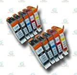 10 Chipped PGI-520 & CLI-521 Compatible Ink Cartridges for Canon Pixma iP3600 Printer