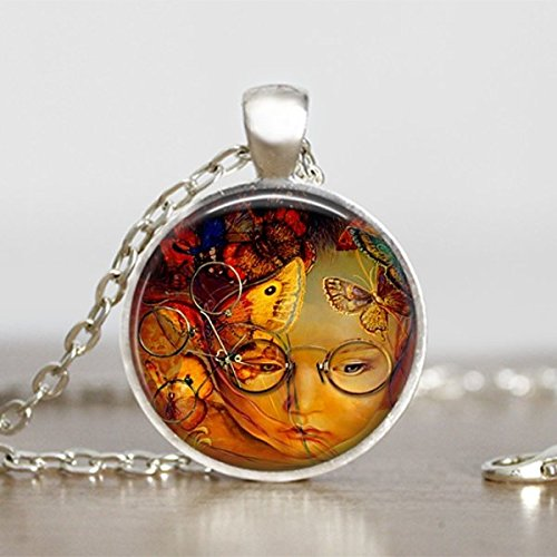 mistery-child-pendant-steampunk-necklace-round-handmade-jewelry