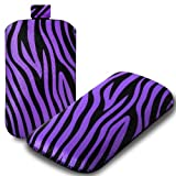 IGloo Zebra Print Pouch Case Cover Sleeve with Pull Tab for the Samsung Ch@t 357 Mobile Phone - Purple