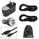 EEEkit Charger Kit for Samsung Galaxy S3/S4/S5 Note 2/3/4 Mega 6.3 LG G3/G2 Dell Venue 8/8Pro Lenovo IdeaTab A1000/Miix2 Acer ICONIA A1-810/Tab A700 Transformer Book T100 Asus MeMO Pad 100 ME102 MeMO Pad ME176CX/ME172V MeMO Pad ME301T/ME302 Asus Transformer Pad TF-100 Google Nexus 7/10 Samsung Galaxy Tab PRO 8.4 Note 10.1 2014 Pro 12.2 Tab 4 10.1 Tab PRO 10.1, AC to USB Power Adapter 5V 2A + 2 USB Ports Car Charger 2A + 2 PCS USB A M to Micro B Cable + EEEKit Pouch