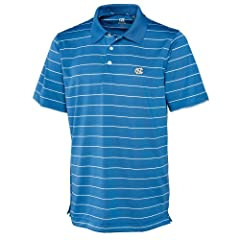 NCAA Mens North Carolina Tar Heels Sea Blue White Drytec Sweeten Stripe Tee by Cutter & Buck