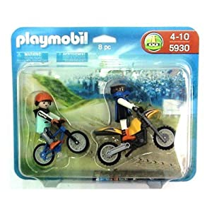 Amazon.com: Playmobil 5930 Motocross Riders Large Set: Toys & Games