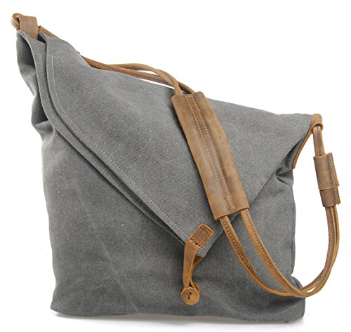 BEMAGSA Women's Men's Canvas Crossbody Messenger Shoulder Handbag Tote Weekender Bag-Grey (Faux Leather Garment Bag compare prices)