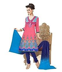 Khazana Women's Chanderi Unstitched Dress Material (khazana-25-sb-1021_Pink_Free Size)