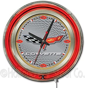 Corvette - C6 15 Double Neon Ring Logo Wall Clock Color: Silver Gold by Holland Bar Stool