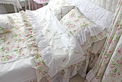 DIAIDI Home Textile,Cotton And Linen Fabric,Elegant Vintage Rose Lace Ruffle Bedding Set,Unique Luxury Bedding Sets,Twin Queen King Bedroom Set,4Pcs Bed Sets (King)