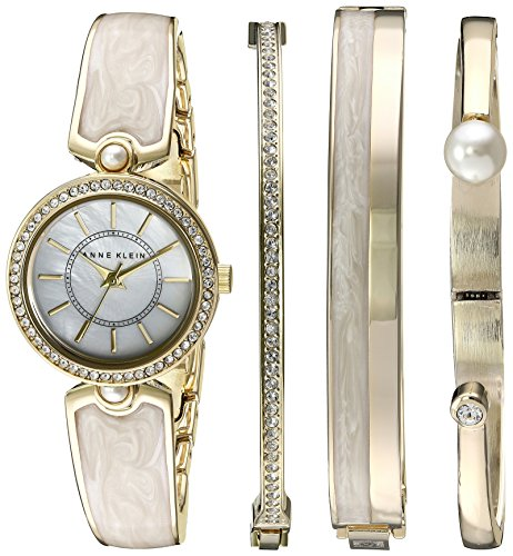 anne-klein-womens-ak-2482ivst-swarovski-crystal-accented-gold-tone-and-ivory-watch-and-bangle-set