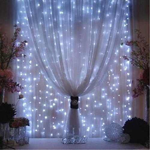 Curtain Lights 300LED 9.8 x 9.8Ft Linkable Design Outdoor Fairy String Light Icicle Lights Led Window Curtain Light for Christmas Xmas Wedding Party Home Decoration,Cold White (Window Antifreeze compare prices)