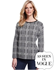 M&S Collection Faux Leather Checked Jumper with Mohair