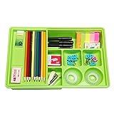 Green Multi Compartment Office Desk Drawer Plastic School Supply Organizer Caddy Tray w/ Sliding Shelf