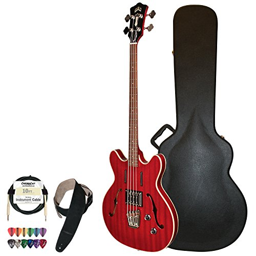 Guild Cherry Red Starfire Semi-Hollow Electric Bass Guitar With Guild Hard Case, Cable, Strap And Picks
