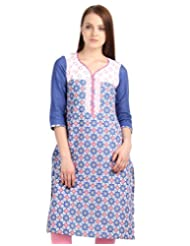 ESTYLe Blue 'N Pink Printed Kurta From ESTYLe With Embroidered Yoke And Dobby Sleeve