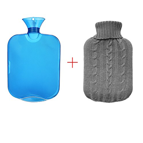 All one tech Transparent Classic Rubber Hot Water Bottle with Knit Cover - Blue (Small Hot Water Bag compare prices)