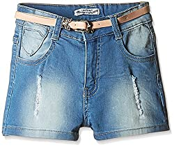 Nauti Nati Girls' Shorts (NSS16-977_Blue_6Y)