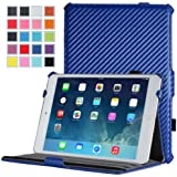 MoKo Apple iPad Mini 3, 2 and 1 Case - Slim-Fit Cover Case for Mini3 (2014 edition with Touch ID), Mini2 (2013 model with Retina Display) and Mini (2012 1st gen), Carbon Fiber BLUE ( with Smart Cover Auto Wake / Sleep)