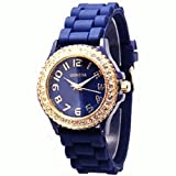 Royal Blue Silicone Ceramic Style Band Watch with Gold Trim and Rhinestones