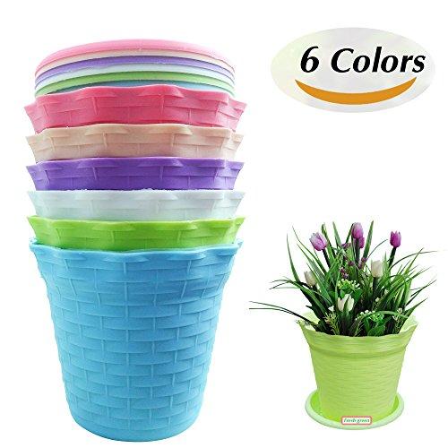 JTHM Imported Resin Material Wavy Edge 6 colors Plastic Flower Pots, Suitable for Tiny Plants & Succulent Plants Pots (Size 4.1