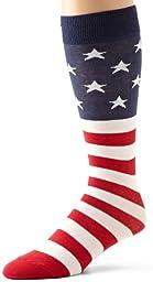 K. Bell Socks Men\'s American Flag Sock, Red/White/Blue, 10-13
