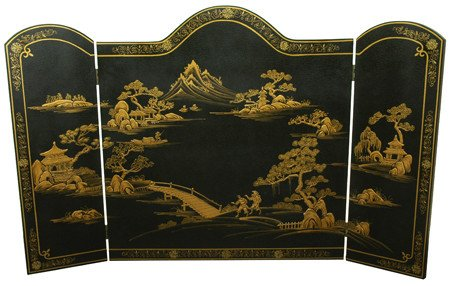 "Asian Furniture & Decor - 54"" Ming Design Chinese Lacquered Oriental Fireplace Screen ( Black )"