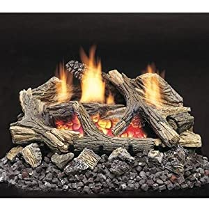 Monessen Gas Logs 20 Inch Aged Hickory Vent Free Propane Gas Log Set - Millivolt On/Off Remote Ready