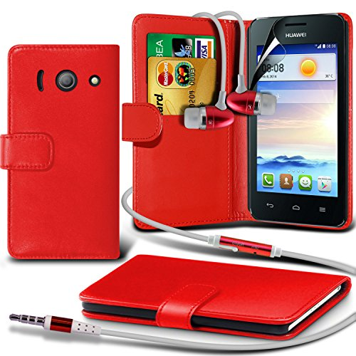 Fone-Case ( Red ) Huawei Ascend Y330Faux Stylish Pu Leather Wallet Credit / Debit Card Flip Case Skin Cover With Screen Protector Guard & Aluminium In Ear Earbud Stereo Hands Free Headphones Earphone Headset With Built In Microphone Mic & On-Off Button