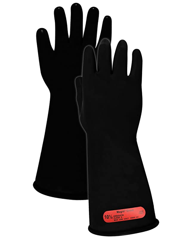 Magid M014B A.R.C. Natural Rubber Latex Class 0 Insulating Glove with Straight Cuff, Work, 14 Length, Size 10.5, Black (1 Pair) (Color: Black, Tamaño: Size: 10.5 | 14 Long)