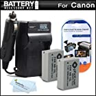2 Pack Battery And Charger Kit For Canon PowerShot SX40 HS SX40HS, SX50 HS, SX50HS, PowerShot G15, PowerShot G16, SX60HS, SX60 HS Digital Camera Includes 2 Extended Replacement (1200Mah) NB-10L Batteries + AC/DC Travel Charger + Screen Protectors + More
