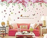 ufengke® Románticas Mariposas Flor de Cerezo Pegatinas de Pared, Sala de Estar Dormitorio Removible Etiquetas de La Pared / Murales
