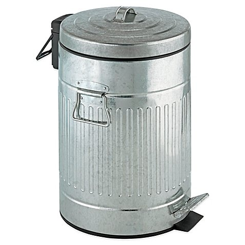 Zinc-Plated Steel 12-Liter Step-On Trash Can (Trash Can Retro compare prices)