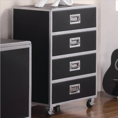 Coaster Home Furnishings Contemporary Chest, Black And Silver front-207853
