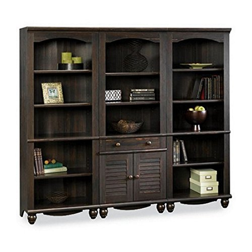 Sauder Harbor View Library Wall Bookcase in Antiqued Paint (Wall Unit Bookcase compare prices)