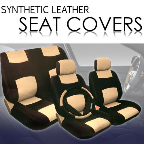 Universal PU (Synthetic) Leather Car Seat Covers Set with Steering Wheel Cover and Shoulder Pads