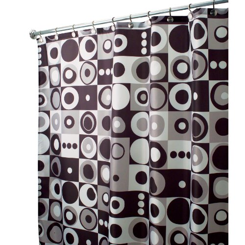 InterDesign Design Mod Square X-Long Shower Curtain, Black, 72 Inches x 96 Inches
