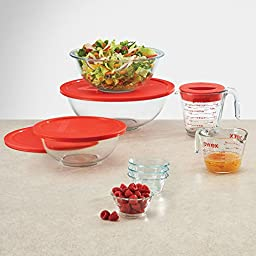 Pyrex 13-Piece Measuring, Mixing, Lifting and Storage Set - Red. Pre-heated Oven, Dishwasher, Microwave, and Freezer Safe