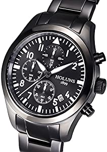 Findtime Mens Luxury Sports Chronograph Black Stainless Steel Quartz Watches