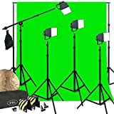 LED PowerLight 200W Photo Video Light Kit Softboxes Boom Chromakey Support System All Metal Body Construction Steve Kaeser Photograpphic Lighting (Color: Black)