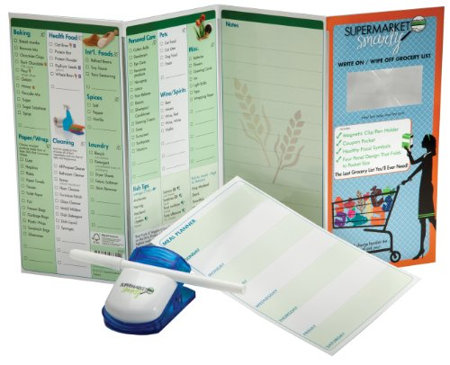 SUPERMARKET SMARTY Write On / Wipe Off Grocery List Organizer and Meal Planner with Magnetic Clip