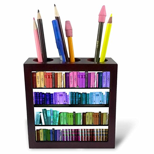 3dRose ph_112957_1 Colorful Bookshelf Books-Rainbow Bookshelves-Reading Book Geek Library Nerd-Librarian Author-Tile Pen Holder, 5-Inch