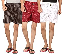 Joven Assorted Printed Cotton MultiColor Boxer Pack of 3