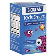 Bioglan Kids Smart Hi DHA-Omega3 Fish Oil, 500 mg, Berry Flavor, Chewable Burstlets, 30 ct.