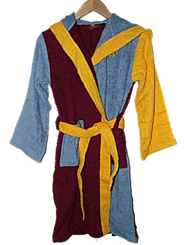 NEW BOYS / GIRLS OFFICIAL AVFC ASTON VILLA HOODED TOWELLING DRESSING GOWN / ROBE ~ CLARET & BLUE ~ RRP £25 ~ AGE 4 - 12 years