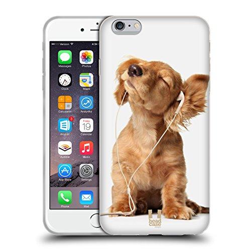 Head Case Designs Cucciolo Che Ascolta La Musica Animali Divertenti Back Case Cover in Silicone per Apple iPhone 6 Plus 5.5