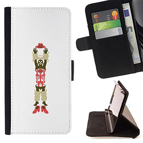 For MOTOROLA MOTO X PLAY XT1562,S-type L'uomo scheletro Cappello Scarpe arte - Disegno di cuoio di stile del raccoglitore della Case di telefono della pelle custodia protettiva
