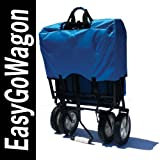 Blue Folding Utility Cart Wagon. Cart Transports Products and/or Children. Made by EasyGoWagon.
